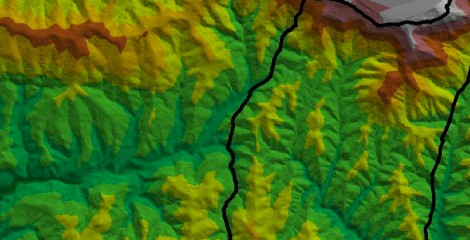 Detalle Modelo digital terreno para delimitar unidades o macizos. Uztárroz 2010