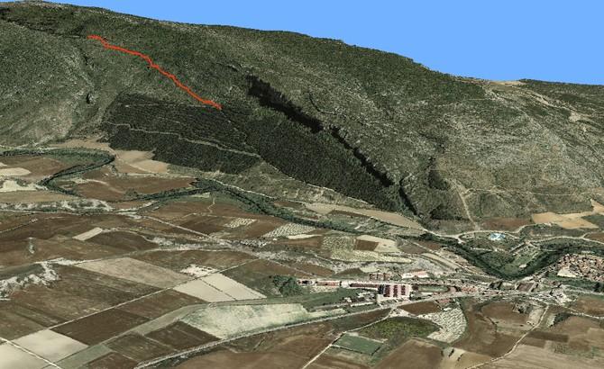 Trazado de nueva apertura de pista en Sierra de Leire empleando sistemas de información geográfica y representaciónd el terreno en 3D